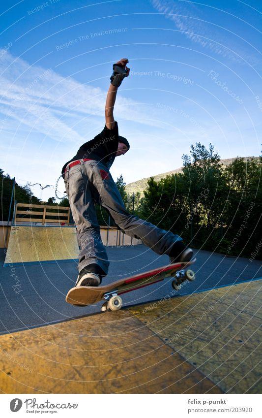 riot skate maskulin Junger Mann Jugendliche Körper fahren Skateboard Skateboarding Vergnügungspark Sliden Halfpipe Punk Mut Gleichgewicht Gegenlicht drehen