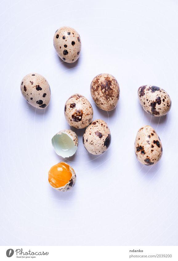 Frische Wachteleier auf einer weißen Oberfläche Ernährung Essen Frühstück Diät Tisch Ostern Natur frisch klein natürlich oben braun Tradition Eigelb Öko