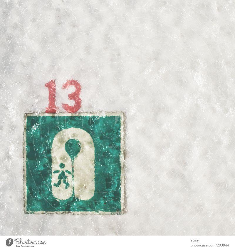 13: Die Rettung Eis Frost Zeichen Ziffern & Zahlen Hinweisschild Warnschild lustig grün weiß Desaster Ordnung Freitag Schwimmweste Symbole & Metaphern gefroren