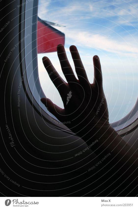 Flugangst Ferien & Urlaub & Reisen Ferne Hand Luftverkehr im Flugzeug fliegen Sehnsucht Heimweh Fernweh Angst Flugzeugfenster Himmel Farbfoto Innenaufnahme