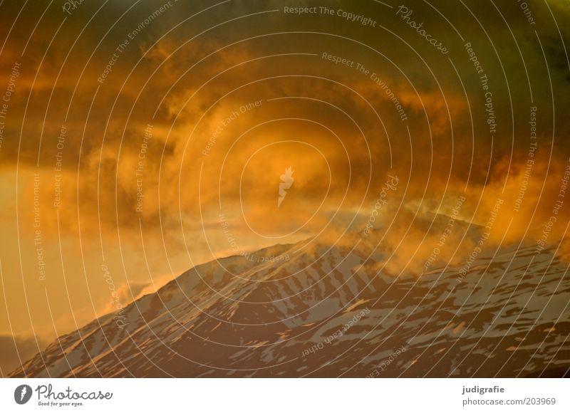 Island Umwelt Natur Landschaft Himmel Wolken Klima Felsen Berge u. Gebirge leuchten außergewöhnlich fantastisch natürlich Stimmung Idylle Schnee Eis Kontrast