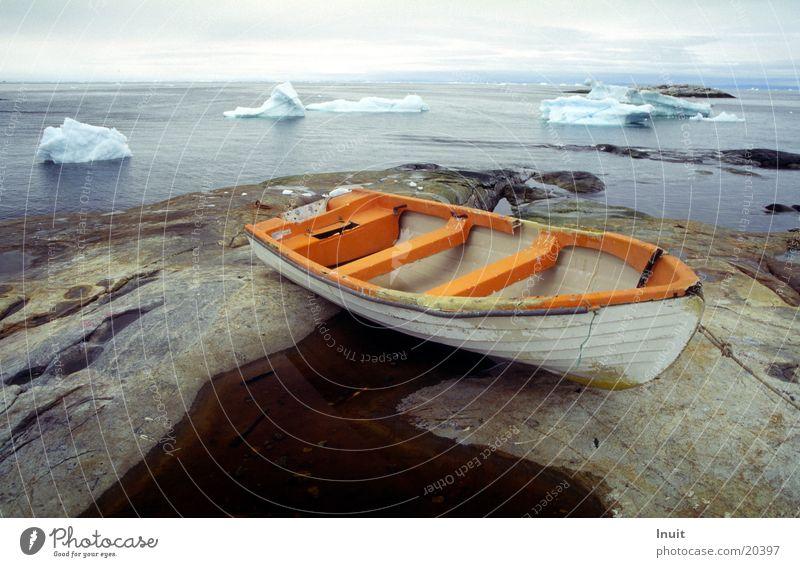 Boot Meer Ferne Felsen Schifffahrt Eisberg Grönland Arktis
