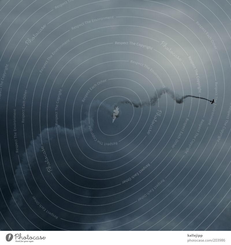 wwwrrroooaaammm! Himmel Wolken Sport Luft Freizeit & Hobby fliegen hoch Flugzeug Luftverkehr kaputt bedrohlich Spuren Rauch drehen aufwärts Risiko