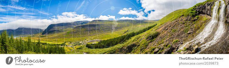 Wasserfall Umwelt Natur Landschaft Schönes Wetter blau braun grau grün weiß Panorama (Bildformat) Aussicht Island Berge u. Gebirge Wald Wolken Stein Himmel Baum