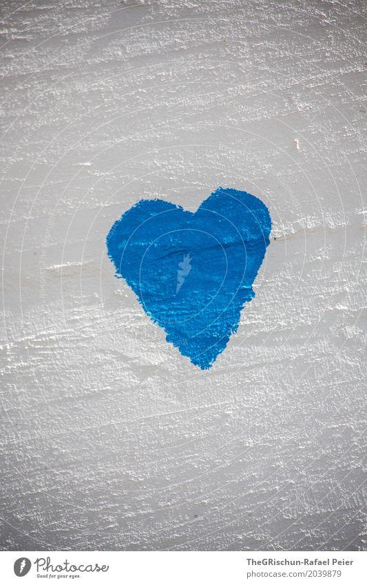 Love Kunst Maler blau weiß Herz Liebe malen Strukturen & Formen Wand Farbfoto Außenaufnahme Menschenleer Textfreiraum oben Textfreiraum unten Tag