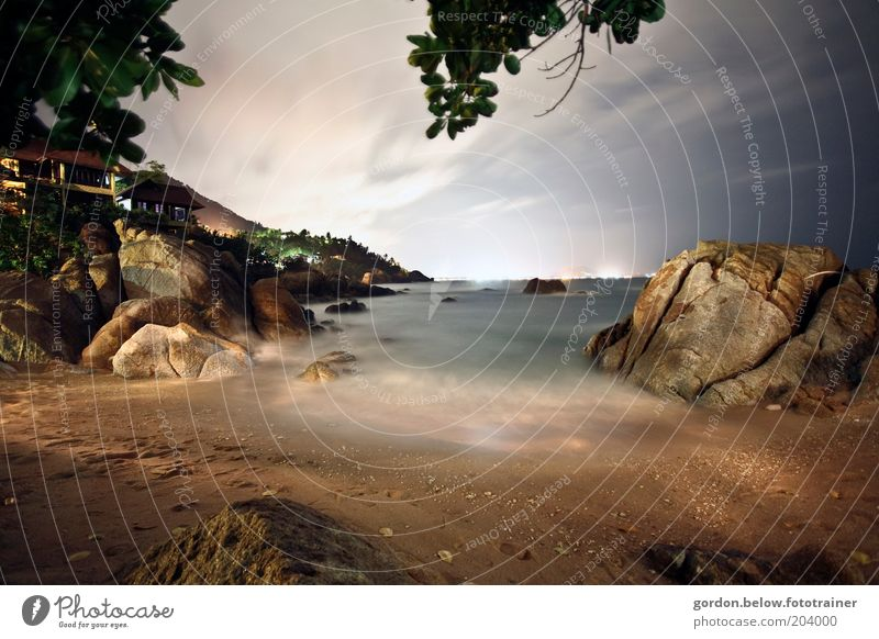 Licht am Horizont Ferien & Urlaub & Reisen Tourismus Ausflug Ferne Sommer Sommerurlaub Strand Meer Insel Wellen Himmel Wolken Nachthimmel Indischer Ozean