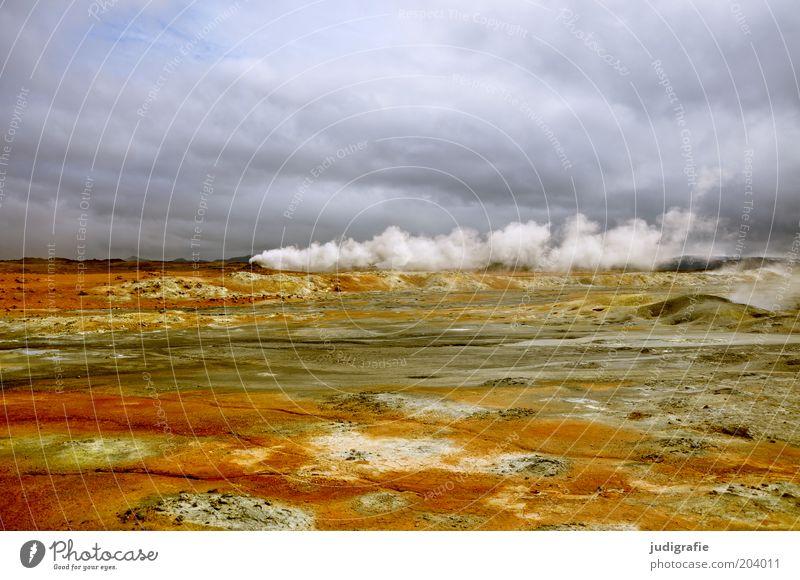 Island Umwelt Natur Landschaft Himmel Wolken Klima Wind Vulkan außergewöhnlich bedrohlich heiß natürlich Stimmung Vulkanologie Gas Schwefel Hölle Farbfoto
