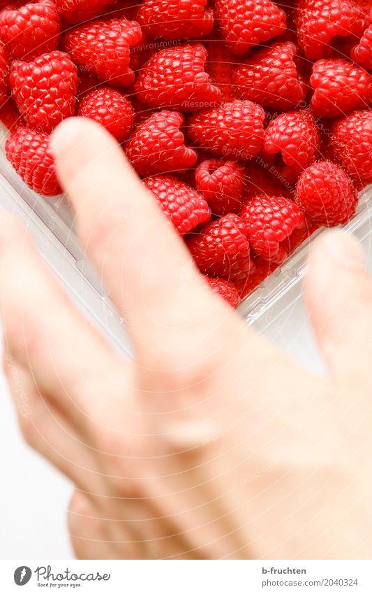 Zugreifen! Frucht Mann Erwachsene Hand Finger 30-45 Jahre kaufen Essen frisch Gesundheit rot Himbeeren fruchtig Blister Süßwaren Farbfoto Innenaufnahme