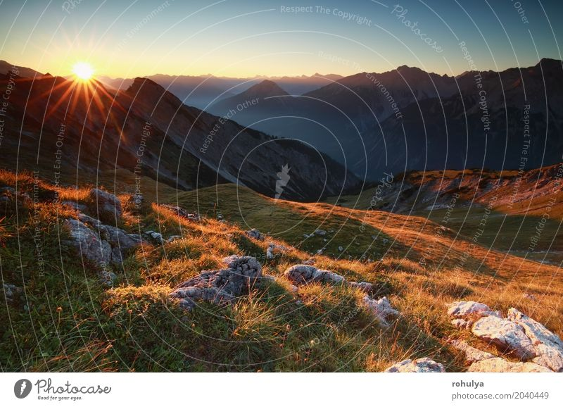 Goldener Sonnenaufgang im Hochgebirge, Österreich Ferien & Urlaub & Reisen Berge u. Gebirge Natur Landschaft Himmel Sonnenuntergang Nebel Wiese Hügel Felsen