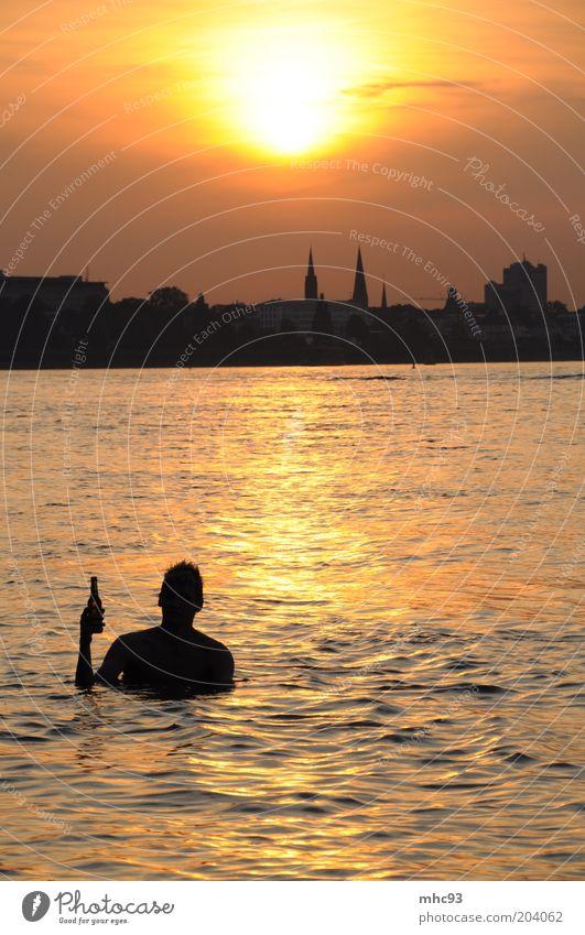 Summer in the City II - Kölsch im...äh am Rhein Natur Sommer Freude Ferien & Urlaub & Reisen Erholung Stimmung maskulin Ausflug Getränk Tourismus Fluss trinken Schwimmen & Baden Bier Skyline