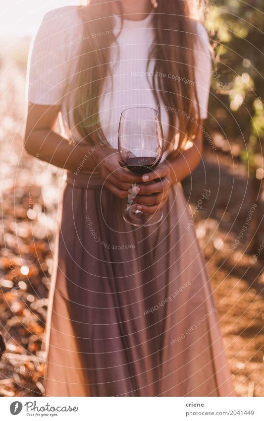 Nahaufnahme der Frau Weinglas am Sommerabend halten Mensch Jugendliche Junge Frau 18-30 Jahre Erwachsene Wärme Lifestyle feminin Feste & Feiern Glas stehen