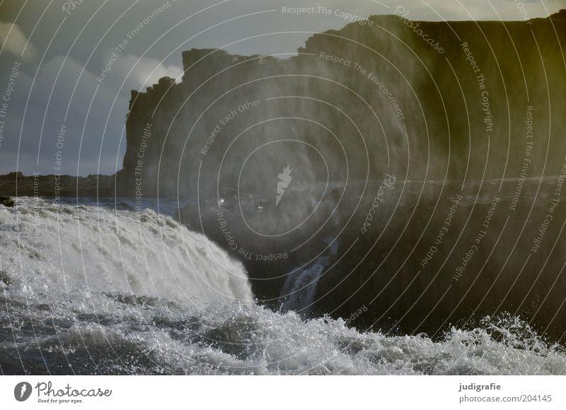 Island Umwelt Natur Landschaft Urelemente Wasser Himmel Wolken Klima Wind Felsen Berge u. Gebirge Schlucht Fluss Wasserfall bedrohlich dunkel gigantisch kalt