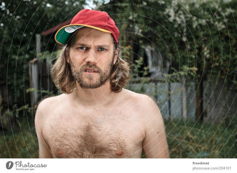 mann mann Mensch maskulin Junger Mann Jugendliche Erwachsene Mütze langhaarig Dreitagebart Vollbart Behaarung Brustbehaarung Freundlichkeit trendy einzigartig