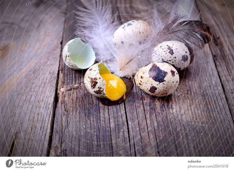 Wachteleier auf einer Holzoberfläche Essen natürlich klein grau braun oben frisch Tisch Ostern Bauernhof Frühstück Tradition Diät Konsistenz rustikal