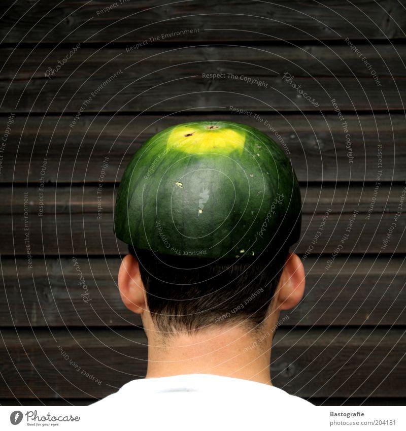 Melonenkopf Mensch Ernährung Haare & Frisuren lustig Frucht Sicherheit Ohr Blühend Mütze reif Hals Vitamin hinten Helm Schädel Hut