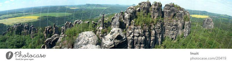 Schrammsteine Berge u. Gebirge Sachsen groß Felsen Panorama (Bildformat) Elbsandsteingebirge Sächsische Schweiz