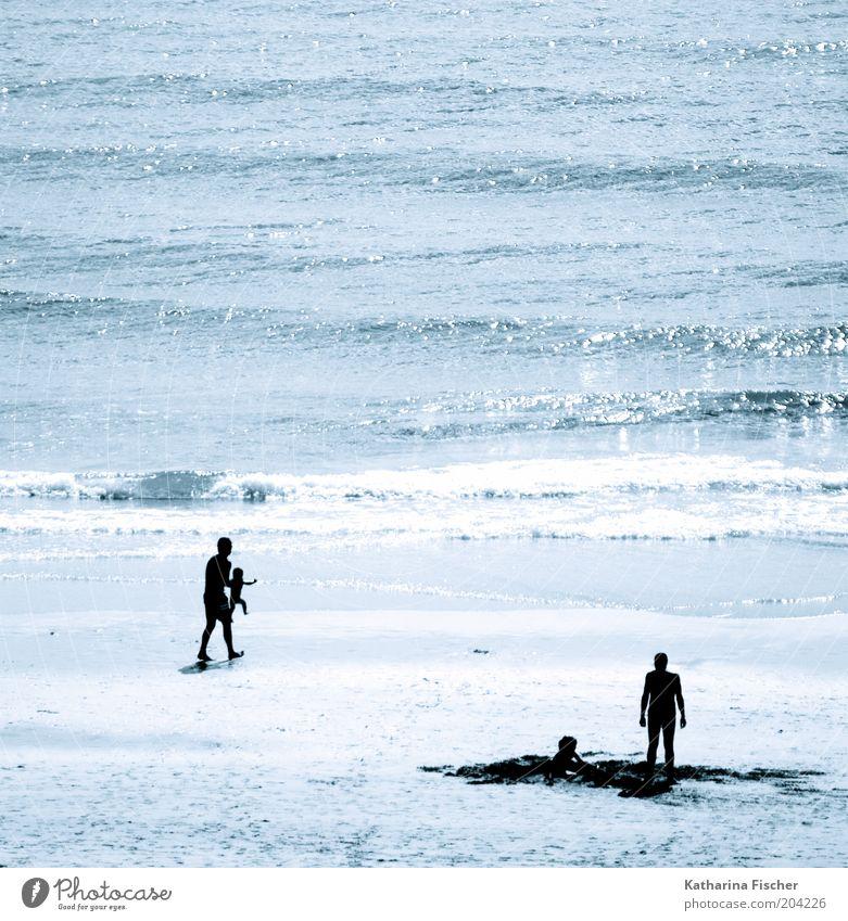 #204226 Ferien & Urlaub & Reisen Sommer Sommerurlaub Strand Meer Wellen Mensch Umwelt Natur Sand Wasser Küste blau schwarz Mann Vater Kind Erholung