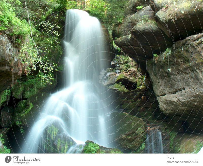 Wasserfall Rauschen Sächsische Schweiz Felsen Stein Lichtenhain