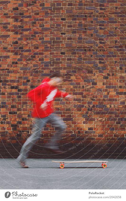 #AS# Hop On I Jugendliche rot Kunst springen ästhetisch Jugendkultur Skateboarding Inline Skating Backsteinwand Jugendstil Longboard Skateplatz Sprungkraft