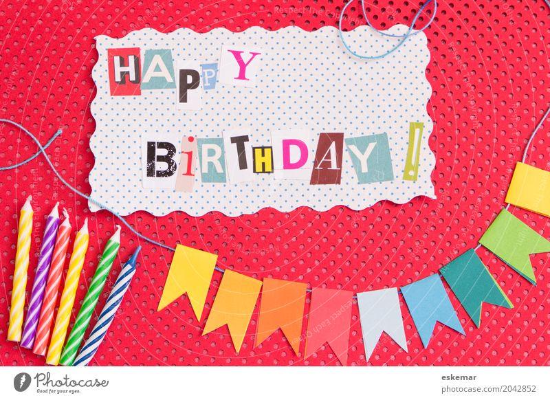 happy birthday Dekoration & Verzierung Party Feste & Feiern Geburtstag Happy Birthday Kindergeburtstag Girlande Fahne Fröhlichkeit oben mehrfarbig rot weiß