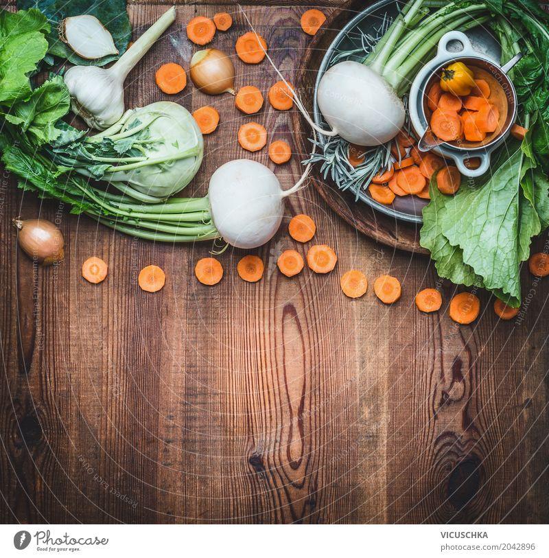 Essen und Kochen Hintergrund mit Gemüse Lebensmittel Ernährung Bioprodukte Vegetarische Ernährung Diät Geschirr Stil Design Tisch Hintergrundbild Foodfotografie