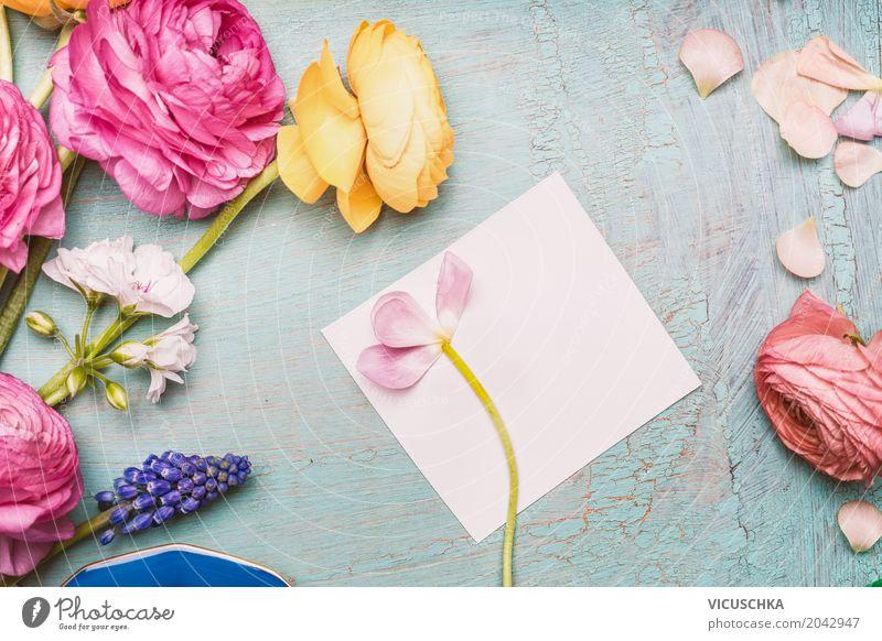 Schöne Blumen, die mit leerer Grußkarte Pflanze Blatt Blüte Liebe Hintergrundbild Stil Feste & Feiern Design rosa Dekoration & Verzierung retro Geburtstag