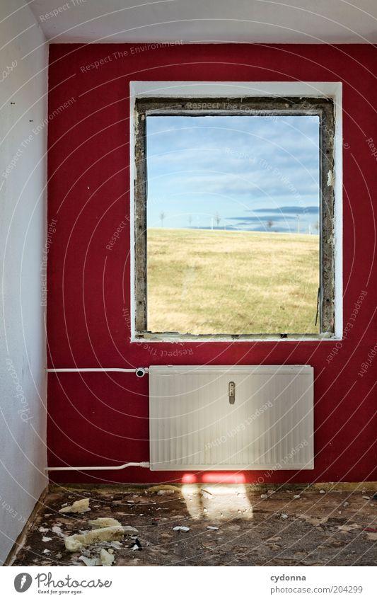 Schöne Aussicht ruhig Häusliches Leben Wohnung Renovieren Raum Natur Landschaft Himmel Wiese Fenster Hoffnung Vergangenheit Vergänglichkeit Zeit Heizkörper
