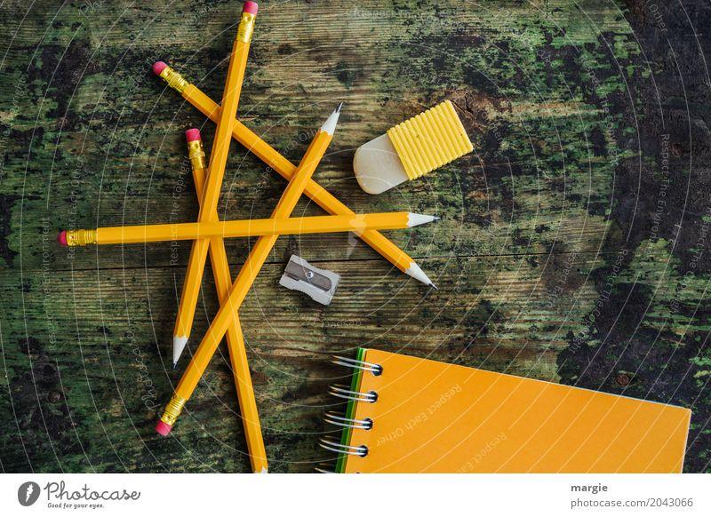 Bleistift Mikado: gelbe Bleistifte mit Notiz - Heft, Spitzer und Radiergummi Schule lernen Schüler Beruf Werbebranche Geldinstitut Post Business grün orange