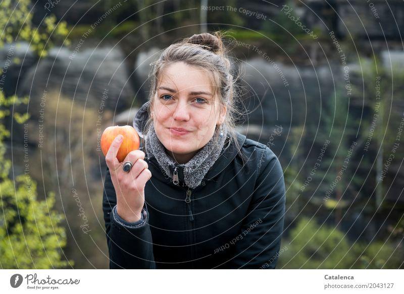 An apple a day .. Gesundheit wandern feminin Junge Frau Jugendliche 1 Mensch 18-30 Jahre Erwachsene Landschaft Pflanze Frühling Baum Blatt Birke Tanne Buche