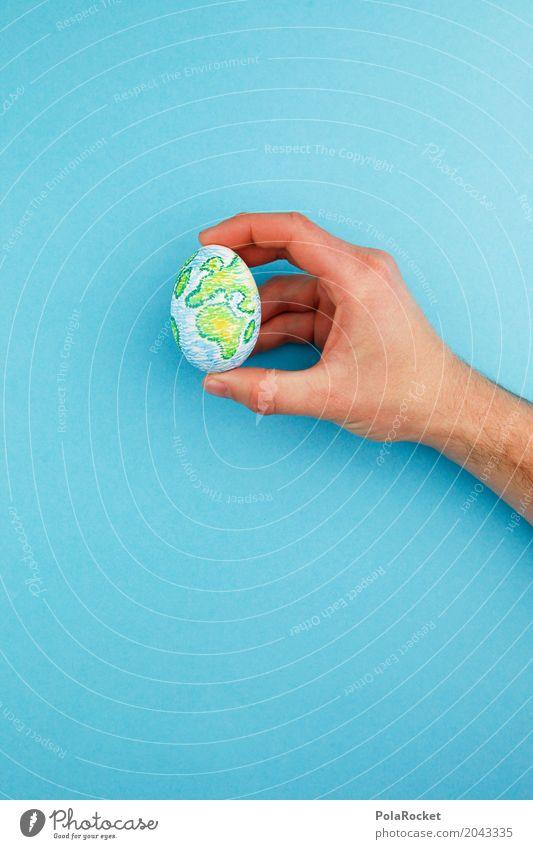 #A# Eiermaler blau Hand Kunst Erde Erde ästhetisch Finger Klima malen Schutz festhalten Bioprodukte Ei Eingang ökologisch Kunstwerk