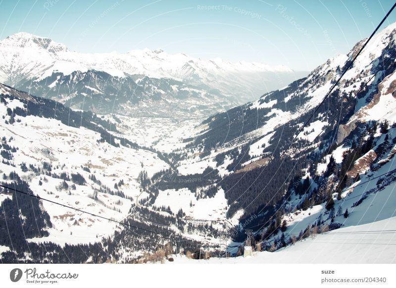 Schweiz Ferien & Urlaub & Reisen Tourismus Freiheit Winterurlaub Umwelt Natur Landschaft Urelemente Himmel Wolkenloser Himmel Horizont Klima Schönes Wetter Eis