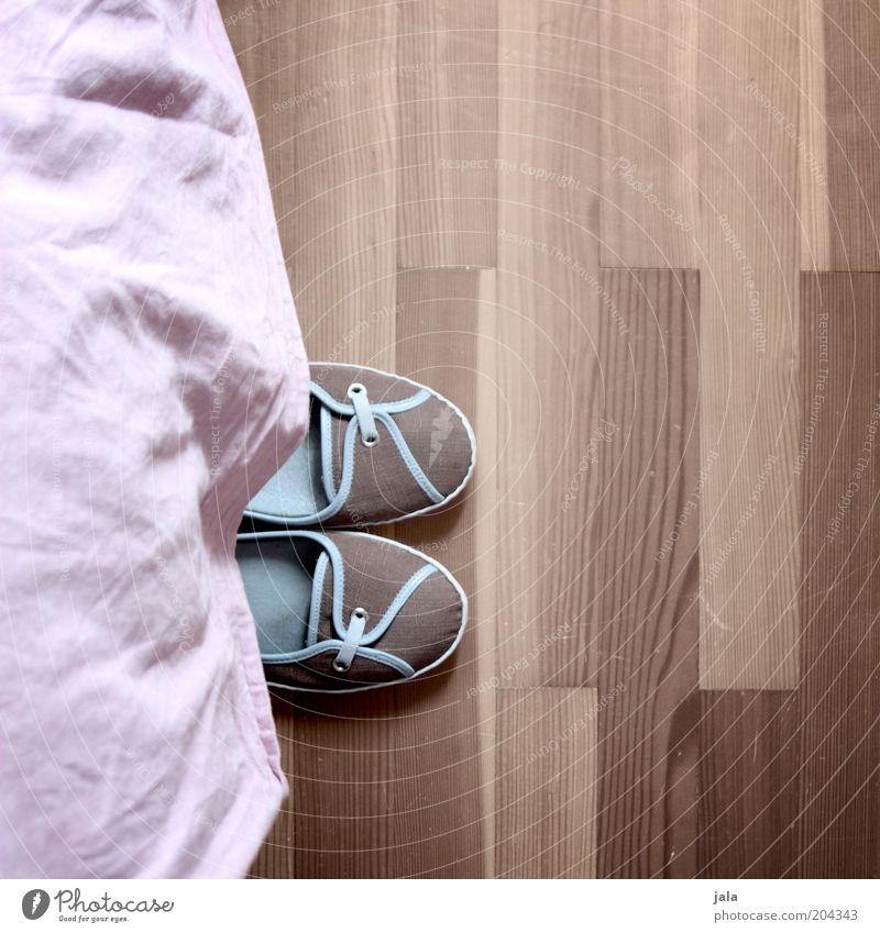 La Le Lu blau Schuhe braun rosa Häusliches Leben Stoff Parkett Boden Bodenbelag Perspektive