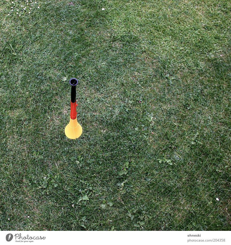Quiet please! Musik Trompete Gras Wiese gold rot schwarz Fußball Fan Deutschland Stimmung Farbfoto mehrfarbig Vogelperspektive Menschenleer