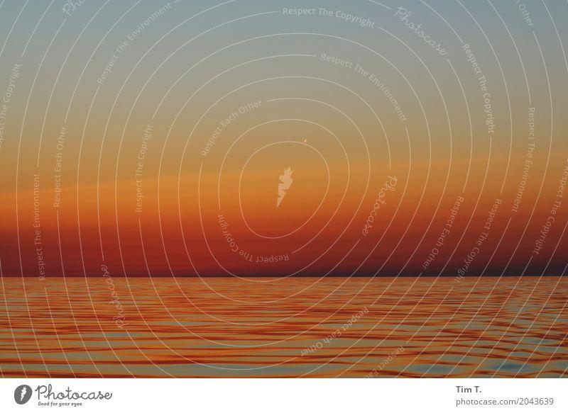 Sonnenuntergang Umwelt Natur Landschaft Wasser Himmel Wolken Horizont Sonnenaufgang Sonnenlicht Sommer Wetter Schönes Wetter Ostsee Meer Menschenleer Freiheit