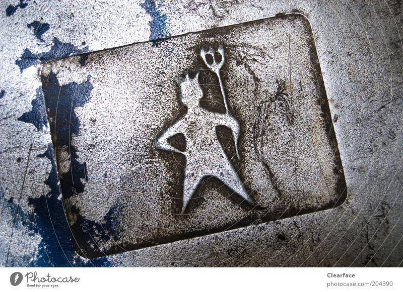 Hydrant Metall Zeichen Piktogramm Dreizack Gravur