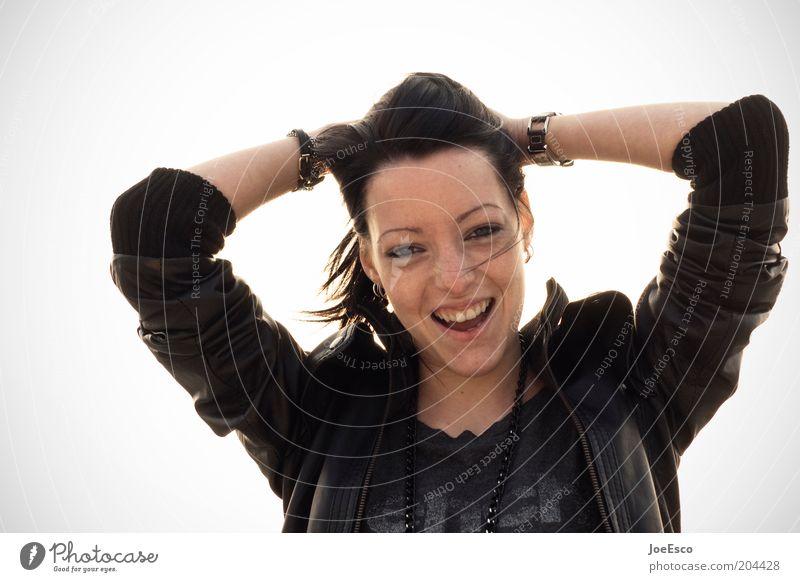 ...endlich wieder online! Lifestyle feminin Junge Frau Jugendliche Erwachsene Leben Kopf Gesicht Mund Zähne Jacke Haare & Frisuren langhaarig Lächeln lachen