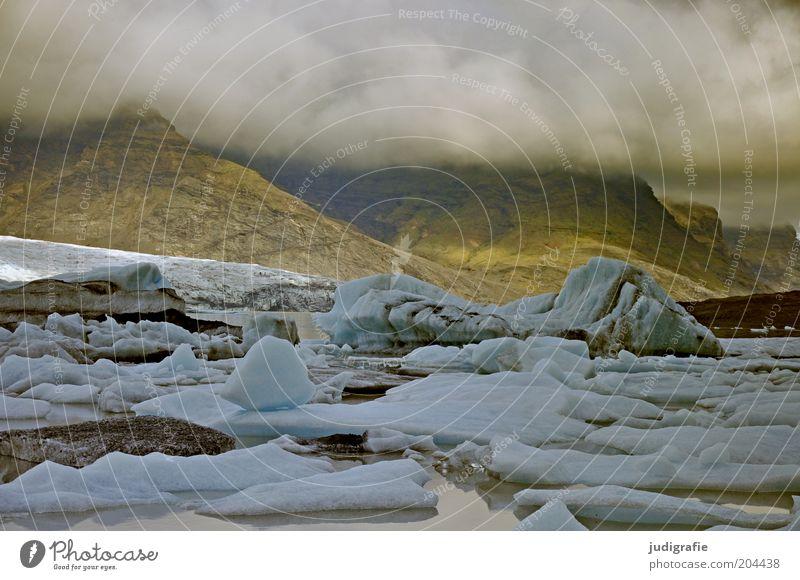 Island Umwelt Natur Landschaft Urelemente Wasser Wolken Klima Klimawandel Wetter Eis Frost Berge u. Gebirge Gletscher Seeufer bedrohlich dunkel kalt natürlich