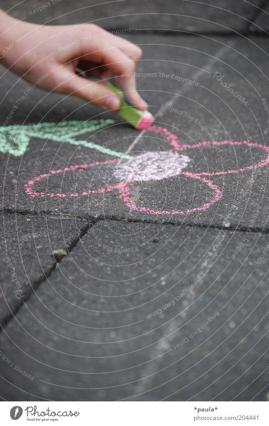 Kinderfreuden Mensch Hand schön Blume grün rot Freude ruhig Straße Spielen grau träumen Zufriedenheit Kunst Finger