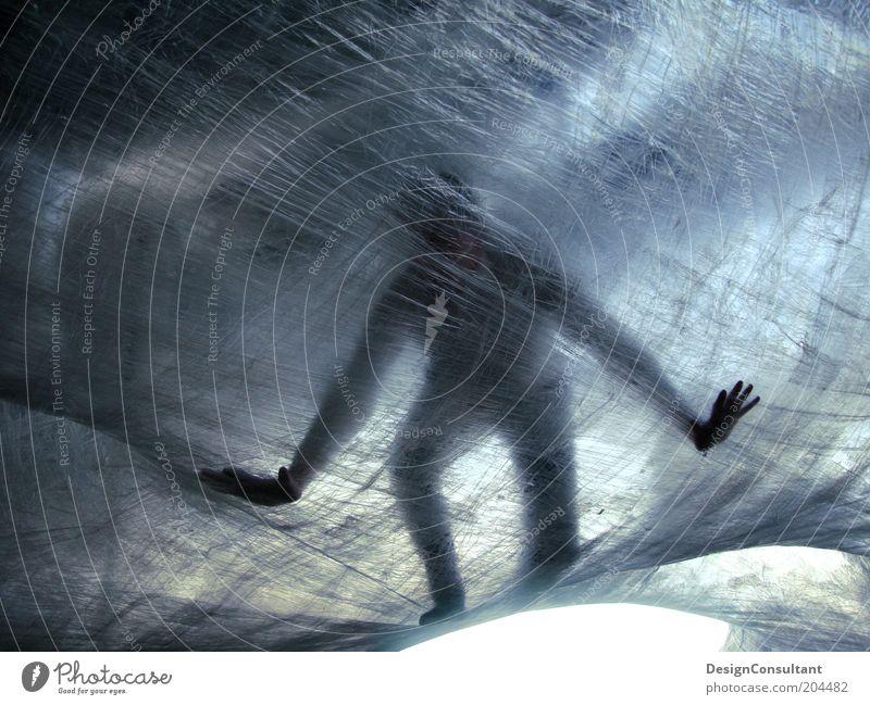 Spiderman Mensch 1 Folie Licht Mann Gleichgewicht Installationen Kunst Farbfoto Außenaufnahme Nahaufnahme Schatten Silhouette Gegenlicht Ganzkörperaufnahme