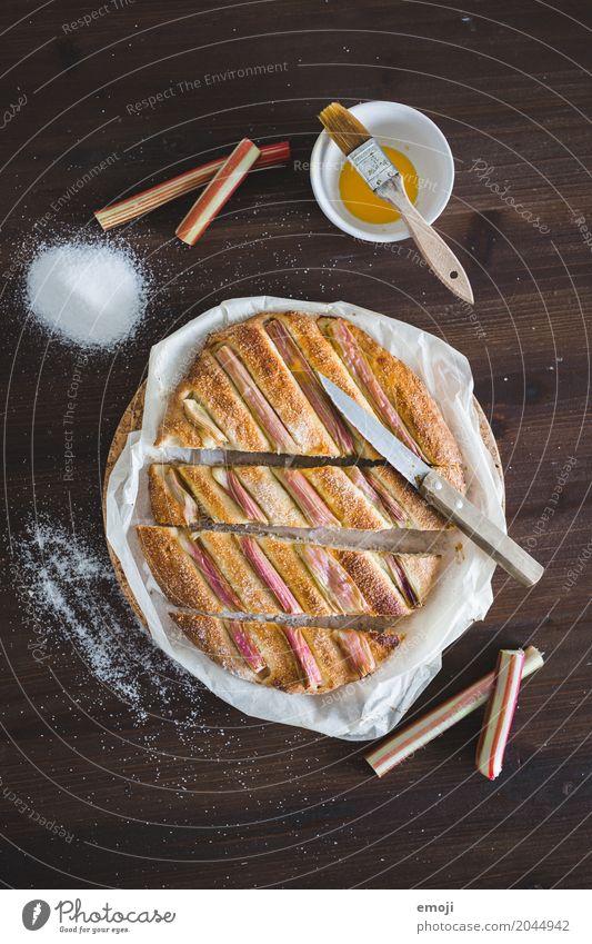 Rhabarber-Hefefladen Frucht Ernährung süß lecker Dessert Backwaren Vegetarische Ernährung Teigwaren Fladenbrot