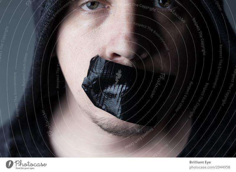 Schweigen ist nicht immer gold Mensch maskulin Mann Erwachsene Gesicht Mund 1 18-30 Jahre Jugendliche Kommunizieren rebellisch schwarz Stimmung Verschwiegenheit