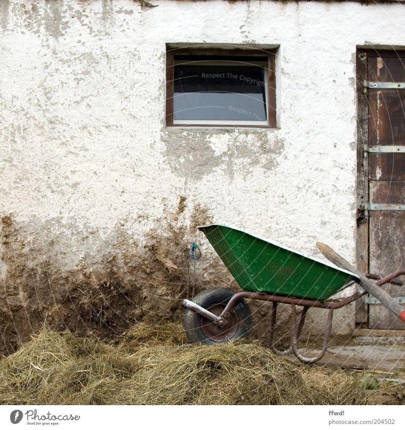 Karre im Dreck Gebäude Fassade Tür Arbeit & Erwerbstätigkeit alt authentisch dreckig Bauernhof Schubkarre Misthaufen Haufen Heu Landleben Farbfoto Außenaufnahme
