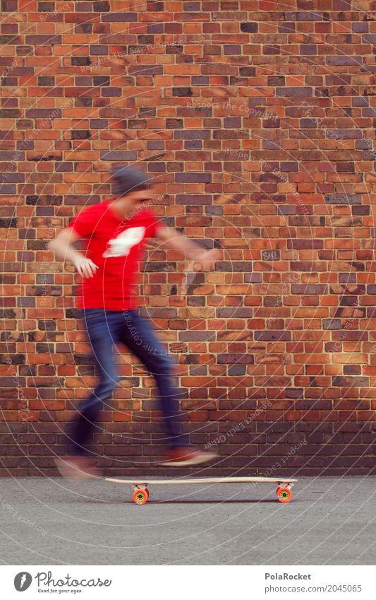 #AS# Hop On II Mann Junger Mann Freude Sport Bewegung Kunst springen ästhetisch Abenteuer sportlich Skateboarding Dynamik Backsteinwand Longboard sprunghaft
