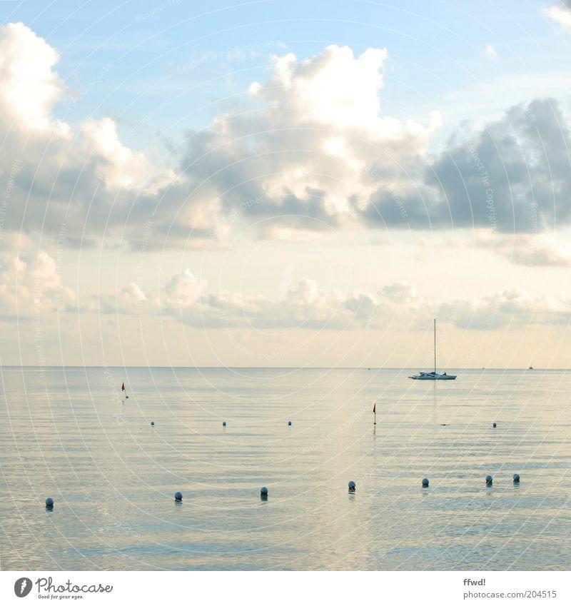 Enjoy the silence Wasser Himmel Meer Sommer Ferien & Urlaub & Reisen ruhig Wolken Einsamkeit Ferne Erholung Freiheit träumen Wasserfahrzeug Zufriedenheit