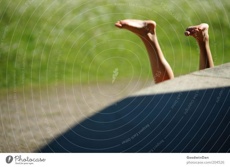 Schleifen lassen.. Mensch Beine Fuß 1 Natur grau grün Stimmung Farbfoto Außenaufnahme Licht Schatten Starke Tiefenschärfe Kopfstand Handstand Frauenbein