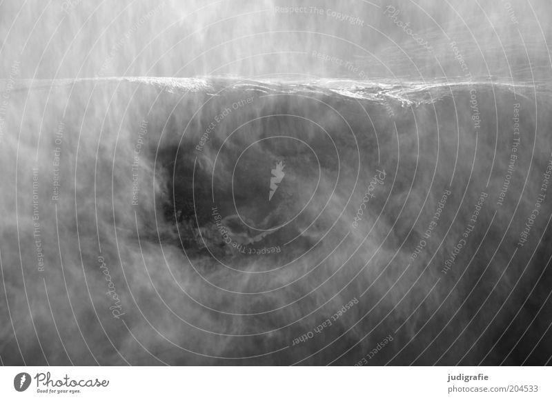 Island Natur Wasser Berge u. Gebirge Landschaft Stimmung Kraft Nebel Umwelt nass natürlich Urelemente Wasserfall Schlucht Schwarzweißfoto Gischt