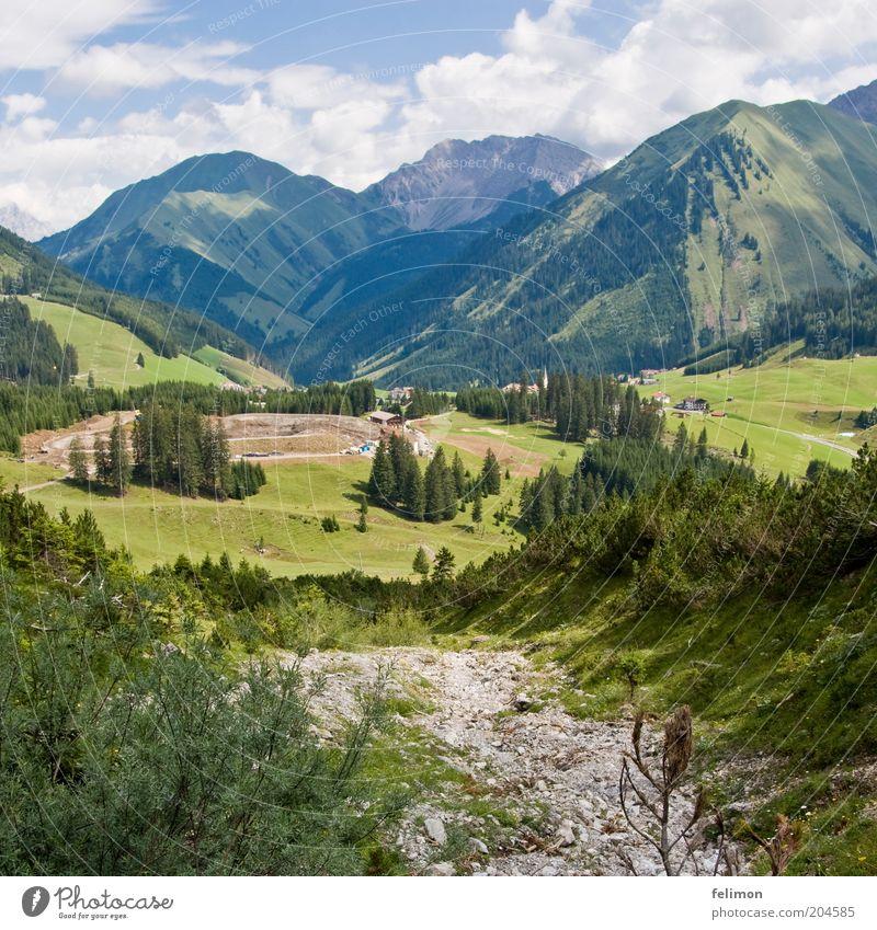 Fernweh Umwelt Natur Landschaft Pflanze Himmel Wolken Wiese Feld Hügel Berge u. Gebirge grün Freiheit ruhig Aussicht Baum Tal Farbfoto Außenaufnahme Tag