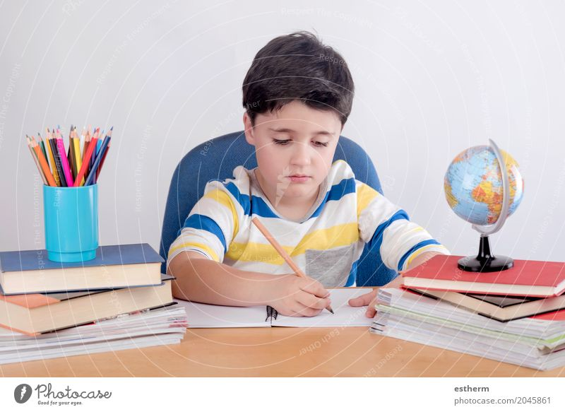 Mensch Kind Lifestyle Junge Schule Kindheit lernen Papier lesen Neugier schreiben Bildung Konzentration Kleinkind Kindergarten Schreibstift