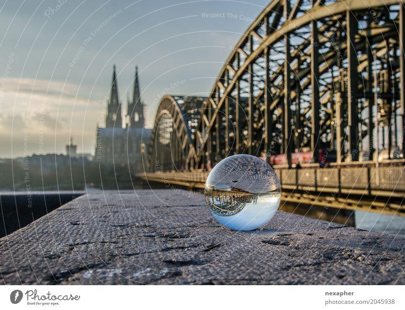 Cologne Cathedral with glass bowl and bridge Ferien & Urlaub & Reisen Sommer Stadt Architektur Wand Frühling Mauer außergewöhnlich Tourismus Ausflug Kirche Glas