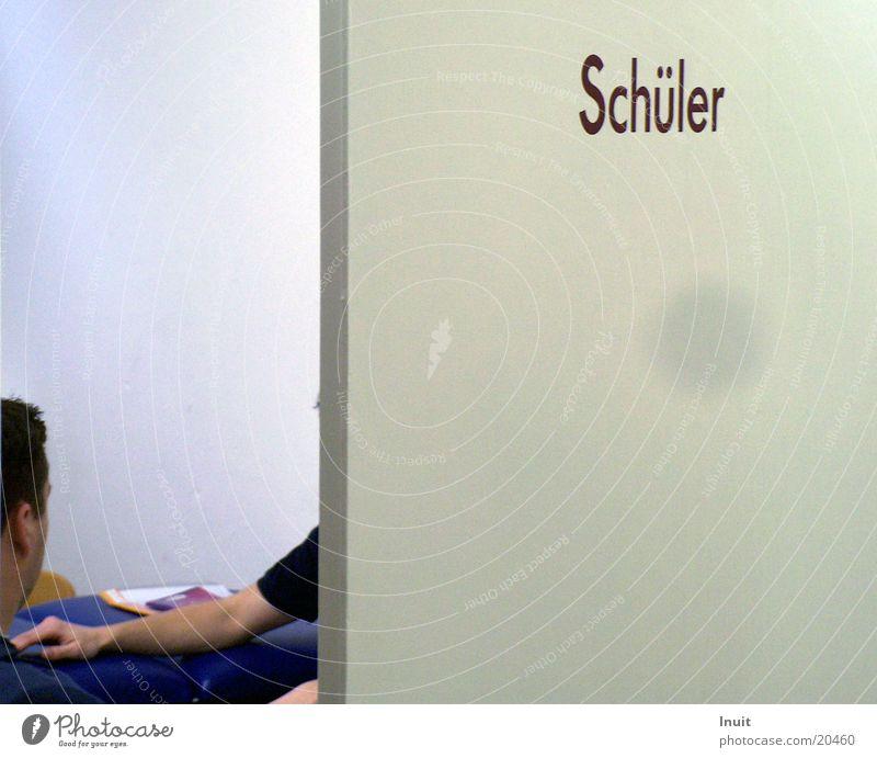 Schüler 2 Dinge Schilder & Markierungen Schule Berufsausbildung Schriftzeichen Tür verrückt Arme